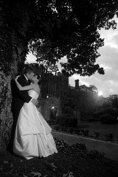 Black and White Wedding Couple Photo Near Castle