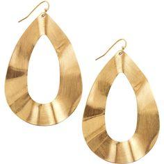 Panacea Textured Large Pear-Shape Earrings ($24) ❤ liked on Polyvore featuring jewelry, earrings, accessories, brincos, bijoux, tear drop earrings, teardrop jewelry, earring jewelry, golden jewelry and golden earring