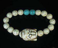 Howlite Turquoise White Buddha Head White Blue Ball Beads Stretch Bracelet