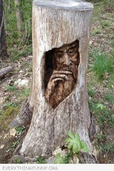 Yard Art Ideas Tree Stumps Awesome 47 Ideas For 2019 Tree Carving, Wood Carving Art, Outdoor Sculpture, Wood Sculpture, Land Art, Tree Faces, Green Man, Tree Art, Oeuvre D'art