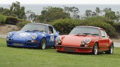 Um par de 1973 Porsche 911 Carrera's_RS e RSR_ com escondido spectator_356 Clube de Califórnia Dana Point Concours_ 21 de julho de 2013