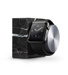 Made from the finest solid marble, DOCK is a beautiful object for the home and a versatile base for charging your watch. Featuring a brushed metal rotating arm, you can comfortably use and navigate the watch face as you charge. The unique and intricate veins of the natural marble makes each DOCK one-of-a-kind.