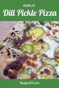 Garlic lovers dill pickle pizza is a dream combination that& make your taste buds quiver with anticipation as it bakes! Mounds of thinly sliced dill pickles and fresh mozzarella are heaped over a simple quick dough smothered in a delectable garlic Best Lunch Recipes, Vegetarian Recipes, Cooking Recipes, Favorite Recipes, Pizza Recipes, Supper Recipes, Tart Recipes, Grilling Recipes, Yummy Recipes