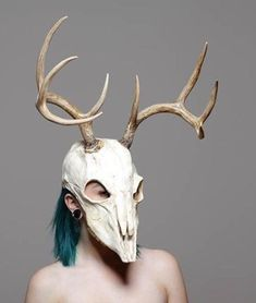 This is a soft urethane rubber mask with rubber tipped resin antlers. It fits up to a 23 inch head. It is reinforced with power mesh for extra durability. Shipping is a bit more for this mask due to the size of the horns. . The mask is made of a high-quality rubber that, unlike Deer Skulls, Bird Skull, Animal Skulls, Crane, Armadura Cosplay, Grandeur Nature, Skull Mask, Animal Masks, Masks Art