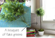 How to make a natural looking topiary using fake greenery. Valuable info if you have kitties but love the look of greenery in your home.