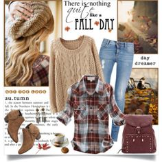 Fall Day: Flannel Shirt & Cable Knit Sweater