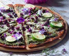 Pesto Pizza on Crispy Cauliflower Crust - get recipe here: http://www.dailymail.co.uk/femail/food/article-3769240/Holistic-health-coach-earns-thousands-fans-totally-gorgeous-incredibly-healthy-smoothies-salads-pizzas.html