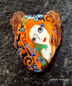 jasmin french mermaids   lampwork focal bead sra