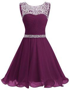 Dresstells® Short Chiffon Open Back Prom Dress With Beading Homecoming Dress Grape Size 6