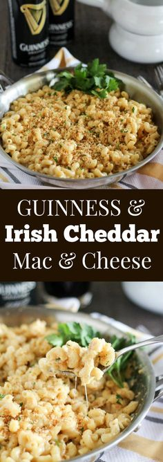 Guinness and Irish Cheddar Macaroni & Cheese ~ Stovetop macaroni and cheese filled with Guinness stout, sharp Irish cheddar and a touch of dijon mustard. Creamy and cheesy with a crunchy garlic breadcrumb topping. Cheese Recipes, Pasta Recipes, Dinner Recipes, Cooking Recipes, Cheddar Mac And Cheese, Macaroni Cheese, Mac Cheese, Beer Mac And Cheese, Vegan Cheese