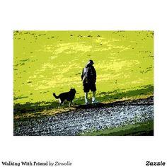 Walking With Friend Postcard Postcard Size, Dog Design, Funny Cute, Dog Cat, Friendship, Take That, Kids Shop, Walking, Dogs