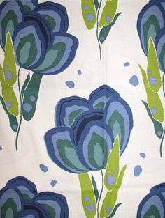 """Happy Poppys Blue Marine Annie Selke fabric 100% washed Cotton for Drapery, Bedding, Pillows, Table Coverings, Light Use Furniture. 12.6"""" V repeat. 54"""" wide"""