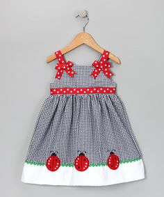 Take a look at this Navy Ladybug Seersucker Dress - Toddler by Rare Editions on #zulily today!