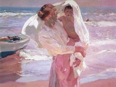 The artwork Just Out of the Sea - Joaquin Sorolla y Bastida we deliver as art print on canvas, poster, plate or finest hand made paper. Art Plage, Google Art Project, Spanish Painters, Oil Painting Reproductions, Paintings I Love, Beach Paintings, Oil Paintings, Claude Monet, Mother And Child