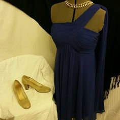 REDUCED  Ever Pretty 1 Shoulder Dress Gorgeous royal blue chiffon dress. Knee length with side zip Ever Pretty Dresses