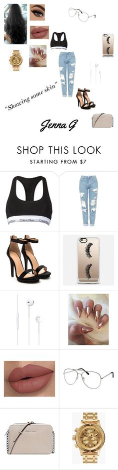 """""""Showing some skin!!♢"""" by iamjennagarcia on Polyvore featuring Calvin Klein, Topshop, Casetify, Michael Kors and Nixon"""