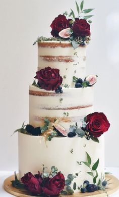 Beautiful autumn wedding cake - Two tier semi-naked wedding cake <br> Beautiful autumn wedding cake - Two tier semi-naked wedding cake and a white wedding cake at the bottom layered adorned with burgundy roses, figs & berries Seminaked Wedding Cake, Burgundy Wedding Cake, Country Wedding Cakes, Wedding Cake Rustic, Wedding Cakes With Cupcakes, White Wedding Cakes, Elegant Wedding Cakes, Beautiful Wedding Cakes, Wedding Cake Designs