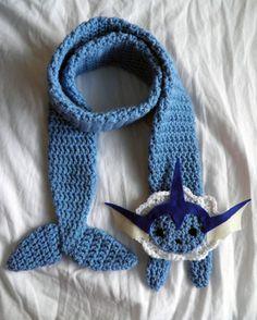 PDF Crochet Pattern: Vaporeon Scarf by TheCuddlyCephalopod on Etsy Crochet Scarves, Crochet Shawl, Crochet Yarn, Crochet Clothes, Pokemon Crochet Pattern, Knitting Patterns, Crochet Patterns, Crochet Ideas, Kawaii Crochet