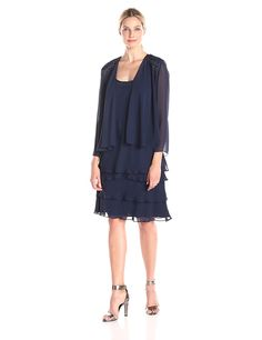 f084581a6fe S.L. Fashions Women s Embellished Tiered Dress with Jacket at Amazon  Women s Clothing store