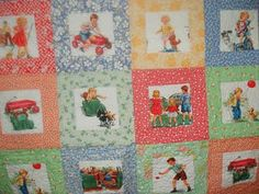 This is a listing for a patchwork quilt made using the popular Dick & Jane Fabric as well as some reproduction 30s fabric ~backed with a