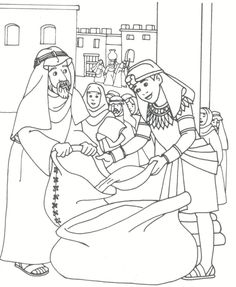 Joseph filling bags of wheat for his brothers in Egypt