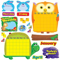 Browse our collection of award-winning classroom décor themes, educational card games, bulletin board sets, fun stickers for teachers, and more online! Cute Calendar, Yearly Calendar, Morning Meeting Board, Name Of Months, Calendar Bulletin Boards, Class Teacher, Classroom Decor Themes, Happy Campers, Card Games