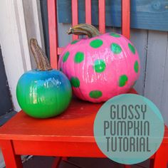Glossy Spray Painted Pumpkin Tutorial.  Trying to decide on something new to do with pumpkins this year.