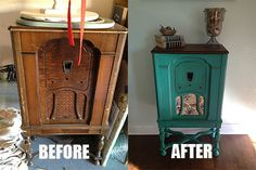 Vintage radio cabinet painted with ASCP in Florence with a stripped and stained top. New fabric.