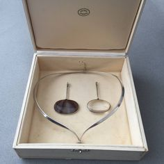 Georg Jensen Neck Ring No. 169 With Two Pendants No. 173 By Vivianna Torun | From a unique collection of vintage drop necklaces at https://www.1stdibs.com/jewelry/necklaces/drop-necklaces/