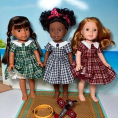 Wellie Wishers Willa, Ashlyn, and Kendall American Girl Doll Shoes, American Girl Crochet, American Girls, Ag Dolls, Cute Dolls, Girl Dolls, Wellie Wishers Willa, Newberry Dolls, American Girl Wellie Wishers