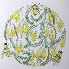 Honey Bee Illustration Circle with Yellow by RoseGoldIllustration Bee Illustration, Vintage World Maps, Tattoo Ideas, Honey, Watercolor, Ink, Yellow, Unique Jewelry, Handmade Gifts