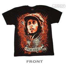 """Bob Marley t-shirt with an explosion of color surrounding a candid photo of Bob Marley and the word, """"Rebel"""" beneath him. Printed on a black 100% cotton t-shirt."""