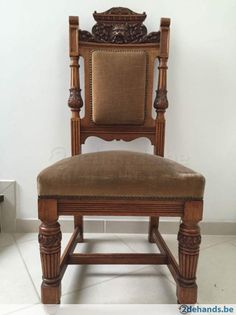 Rare English Victorian carved oak chair from circa 1840