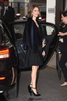 Sofia Coppola wears a Fendi fine black and navy coat