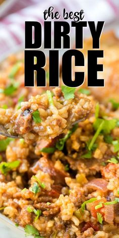 Dirty rice is Southern comfort food at its best. Simple, authentic and seasoned with incredible spices, it's a fantastic side dish OR one-pot dinner. Even better, this dirty rice recipe is can be made with pork, chicken shrimp. You can also leave the meat White Rice Recipes, Rice Recipes For Dinner, Easy Rice Recipes, Cajun Recipes, Side Dish Recipes, Beef Recipes, Cooking Recipes, Healthy Southern Recipes, Seasoned Rice Recipes