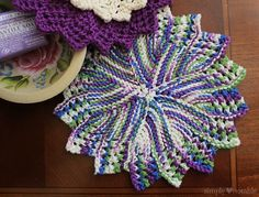 Knitted Lacey Round Dishcloth Knitting Pattern | SimplyNotable.com