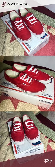 Like new! Red Vans off the wall sneakers! Bought these Vans a month ago and wore them for a little while but they where a tad big so I stopped wearing them. Still in excellent condition!  ✅ 1-2 Day Shipping!  ✅ Make me an offer! ✅ Ask as many questions as you like! ✅ Smoke free Home! 🚭 ✅ Pet free home! Vans Shoes Sneakers