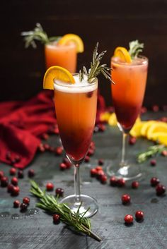 Holiday Cranberry Mimosas