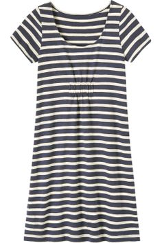 "Breton Dress from Toast - ""Easy dress in good quality, weighty, slub cotton jersey. Short, wide band of ruching beneath the bust."" I wonder how this might look on me. Worth trying? Simple Outfits, Simple Dresses, Easy Dress, Sweet Style, My Style, Buy Wardrobe, Embroidery On Clothes, Poplin Dress, I Love Fashion"