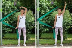 Mit Theraband Übungen Schulter und Rücken stärken! - WE GO WILD Stretch Bands, Diets For Women, Workout, Fitness Motivation, Sporty, Wild Sports, Style, Fashion, Flabby Arms
