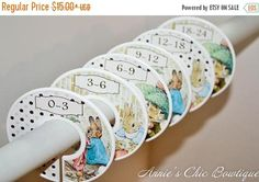 Beatrix Potter Closet dividers Peter Rabbit Nursery Boy. These Peter Rabbit from Beatrix Potter closet dividers are the cutest way to keep your baby clothes organized. Separate baby clothing from Newborn to 24 months or with any of the options that we offer below.