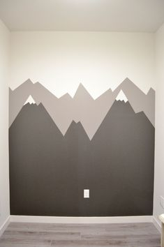Step 4 Mountain Mural Tutorial - Easy and quick step by step DIY mountain mural tutorial for how to paint a mountain mural on a budget. Cute nursery wall idea for a mountain themed room.