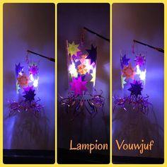 """Lampion """"sterren"""" van lamineervel www.vouwjuf.nl"""