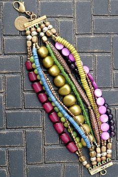 Purple, Green and Copper Multi-Strand Beaded Cuff Bracelet