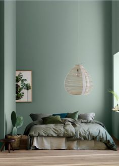 Modern Earthy Home Decor: Soothing bohemian bedroom with soft pistachio green bl. Modern Earthy Home Decor: Soothing bohemian bedroom with soft pistachio green blue walls and rattan hanging lamp Home Decor Bedroom, Bedroom Wall, Bedroom Ideas, Bedroom Designs, Girls Bedroom, Master Bedroom, Earthy Home Decor, Bedroom Green, Earthy Bedroom