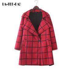LA-TEE-DA!08 2017 New Faux Leather Coat Woman Suede Coat Lady Grid Coat Fashion Grid Coat Female Grid OD Turn Collar Vestidos #Affiliate