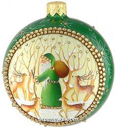 Grande Orb, Woodland, Patricia Breen (Enamel, Green, Reindeer, Santa, Snowflakes)