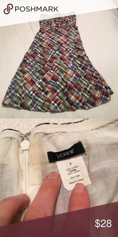 J. Crew madras strapless cotton dress size 0 Gorgeous, fully lined. In great condition. J. Crew Dresses Strapless