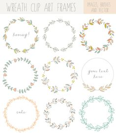 Hand Drawn Laurel Wreath Clip Art Images by FieldandFountain