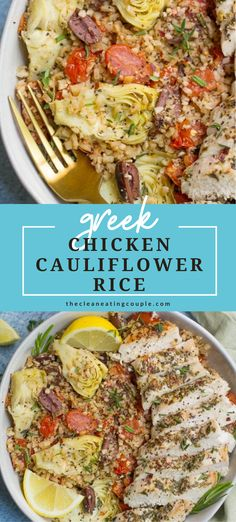 These Greek Chicken Cauliflower Rice Bowls are a delicious, easy meal! Naturally gluten free, keto, dairy free, Whole30 + paleo friendly! You can make them with grilled chicken or pan seared chicken - both are delicious! #whole30 #paleo #keto